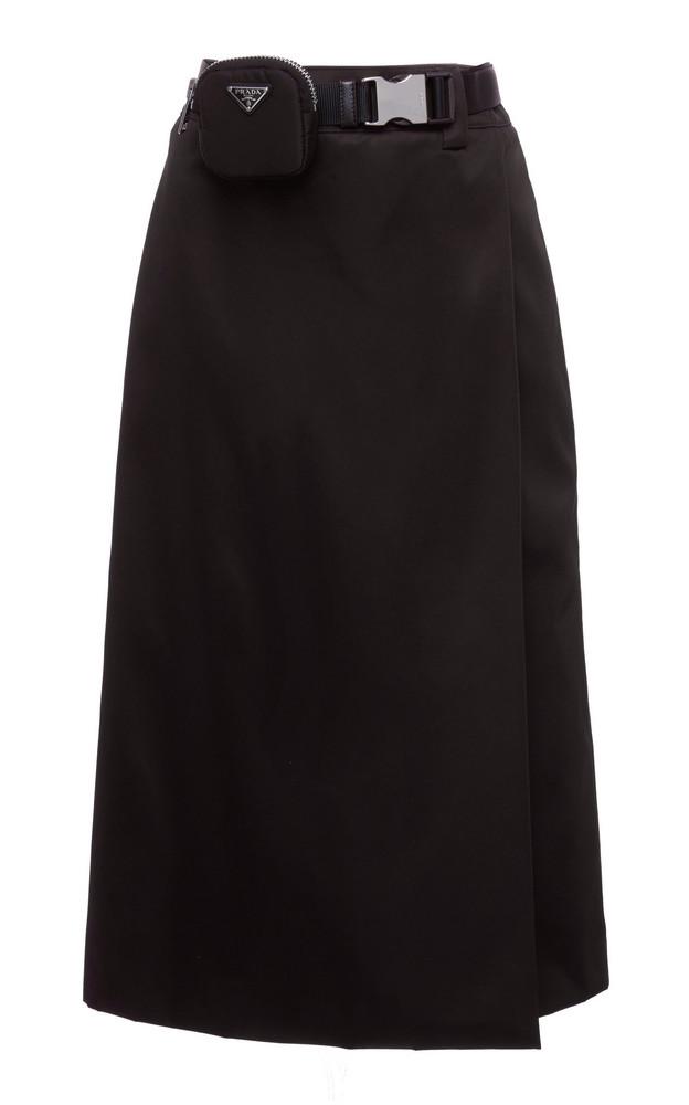 Prada Belted Wrap-Front Midi Skirt in black