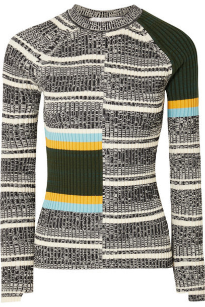Victoria Beckham - Striped Ribbed Cotton-blend Sweater - Black
