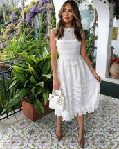 dress,midi dress,white dress,lace dress,sleeveless dress,pumps,white bag,handbag