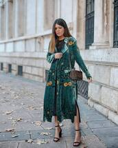 coat,green coat,velvet,floral,black heels,high heel sandals,brown bag,shoulder bag,black dress,midi dress