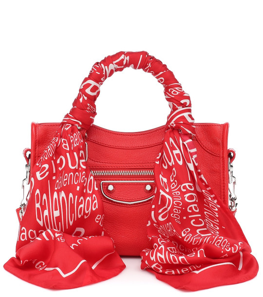 Balenciaga Classic City Scarf leather tote in red