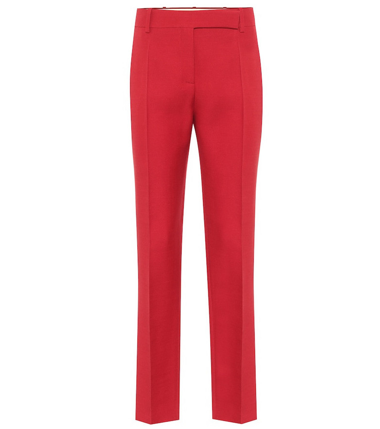 Valentino High-rise slim wool and silk pants in red