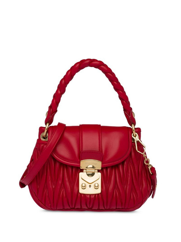 Miu Miu Matelassé leather mini bag in red