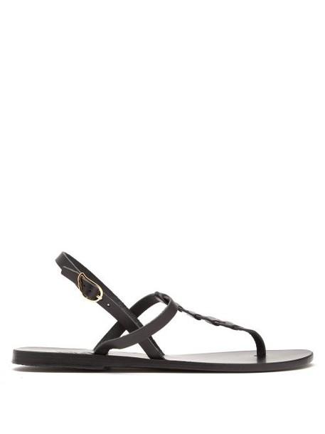 Ancient Greek Sandals - Lito T Bar Strap Leather Sandals - Womens - Black