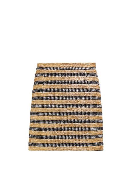 Alessandra Rich - High Rise Striped Tweed Skirt - Womens - Black Gold
