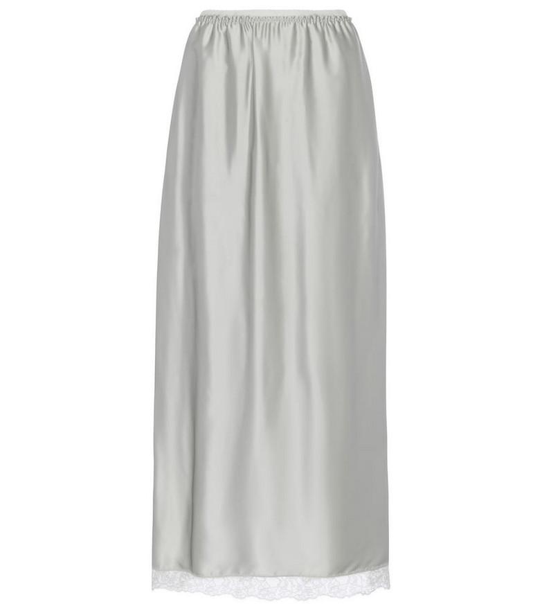 MM6 Maison Margiela Lace-trimmed satin midi skirt in grey