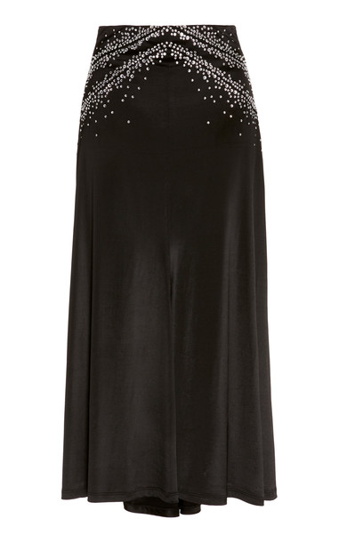 Paco Rabanne Embellished Satin Midi Skirt Size: 34 in black