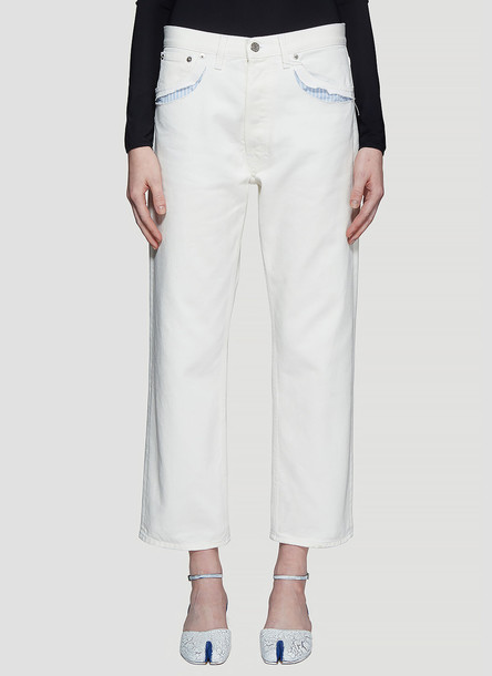 Maison Margiela Exposed Striped Pocket Jeans in White size FR - 40