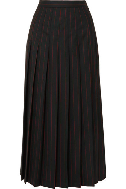 McQ Alexander McQueen - Paneled Pleated Pinstriped Grain De Poudre And Wool Skirt - Black