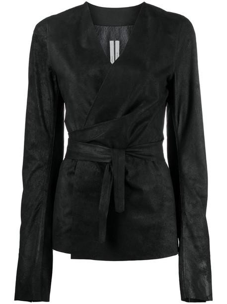 Rick Owens V-neck tied-waist jacket in black