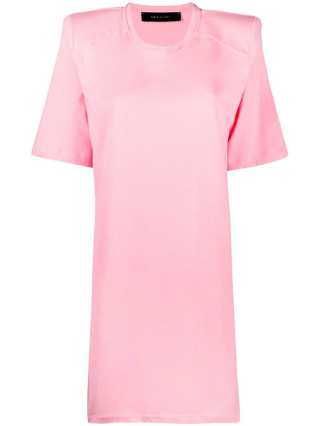 Federica Tosi shoulder-pad detail short-sleeve dress in pink