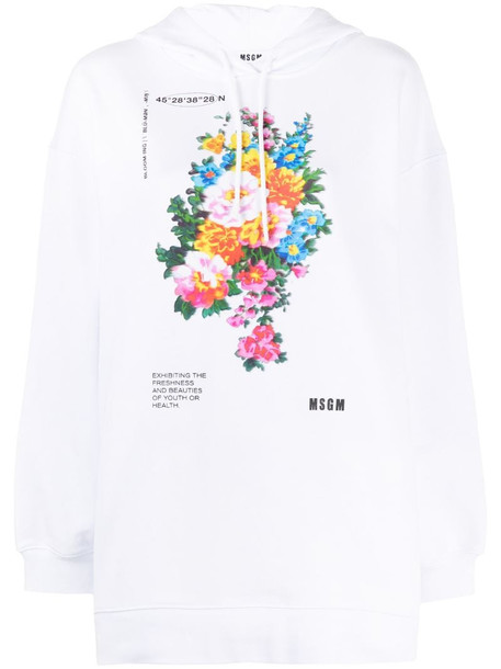MSGM floral-print hoodie in white