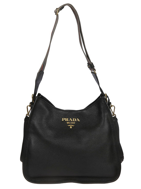 Prada Logo Adjustable Shoulder Bag in black