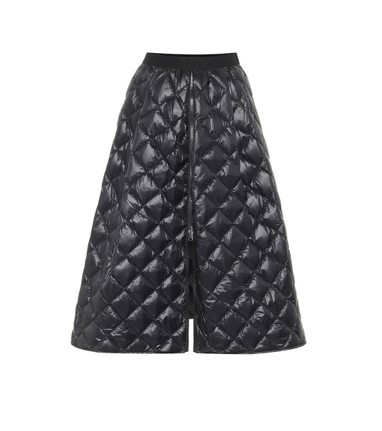 Moncler Quilted down midi skirt in black