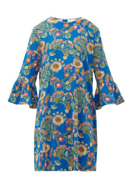 La Doublej - 24/7 Thistle Print Trumpet Sleeve Crepe Dress - Womens - Blue Print