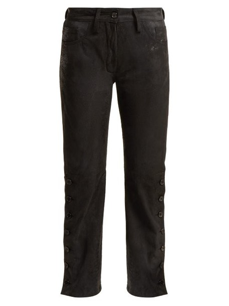 Ann Demeulemeester - Distressed Leather Trousers - Womens - Black