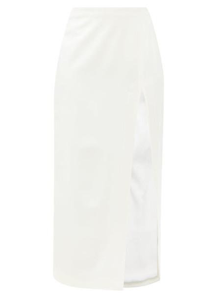 The Attico - Side-slit Wool-blend Midi Skirt - Womens - Cream