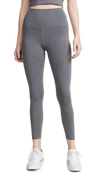 Beyond Yoga Heather Rib Midi Leggings in grey