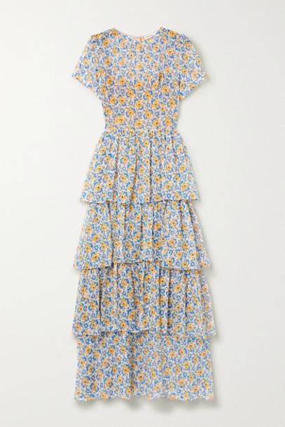 HVN - Brynn Tiered Floral-print Silk-chiffon Maxi Dress - Blue