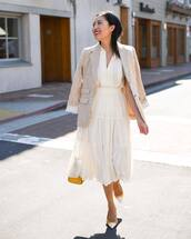 skirt,midi skirt,high waisted skirt,pumps,yellow bag,blazer,stripes,blouse