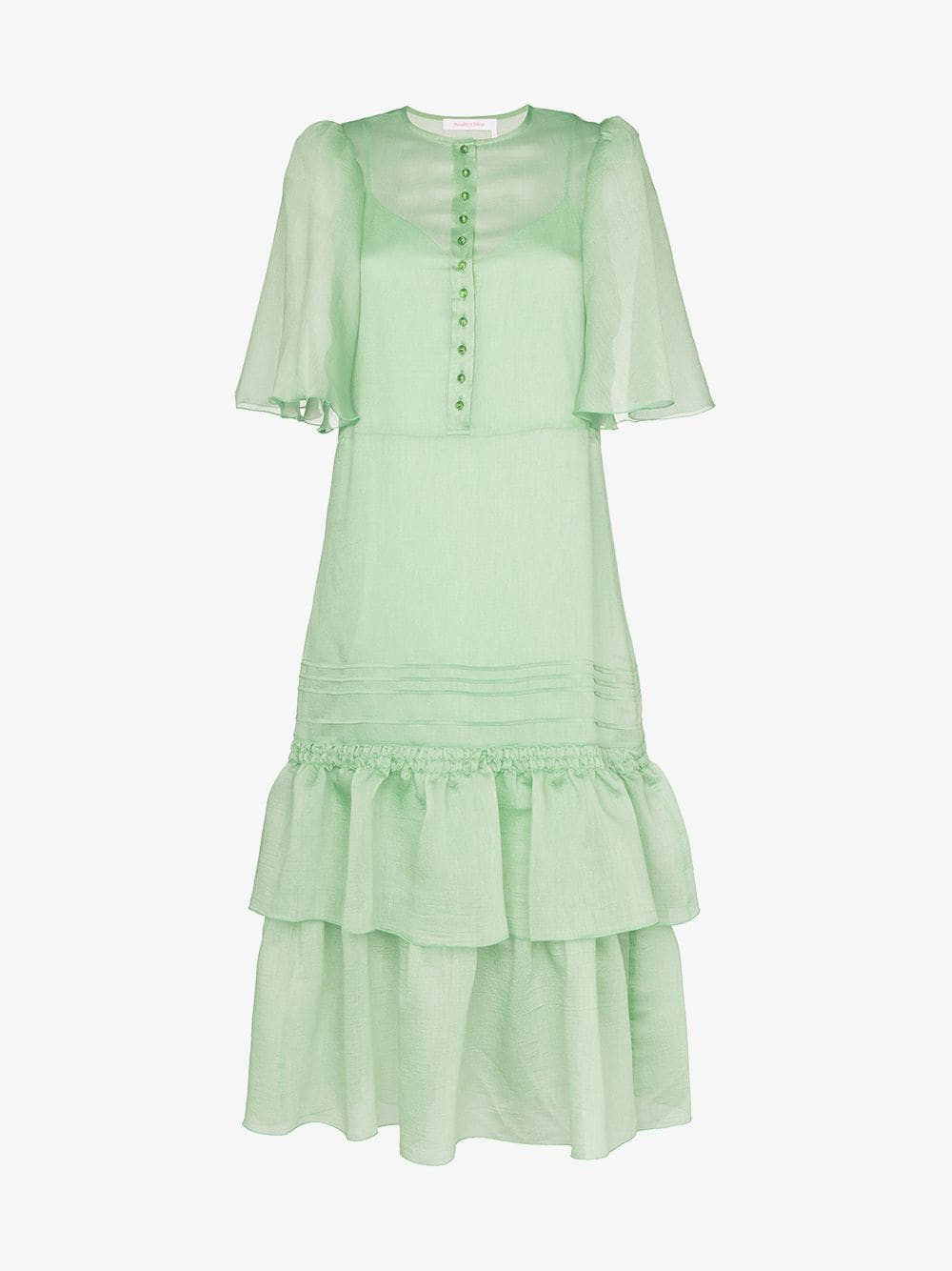 See By Chloé See By Chloé fluted-sleeve tiered midi dress in green