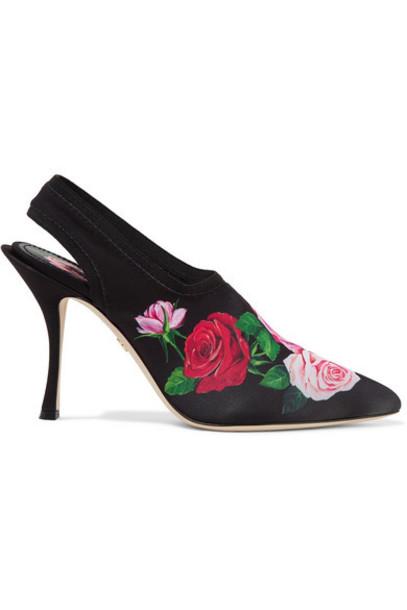 Dolce & Gabbana - Floral-print Stretch-jersey Slingback Pumps - Black