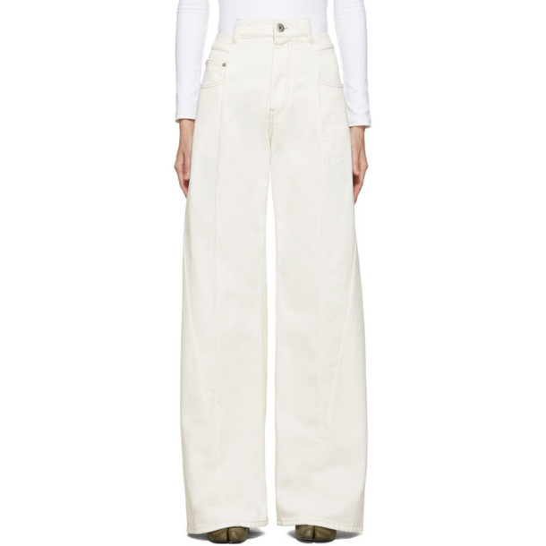 Maison Margiela Off-White Wide-Leg 'Décortiqué' Asymmetric Jeans