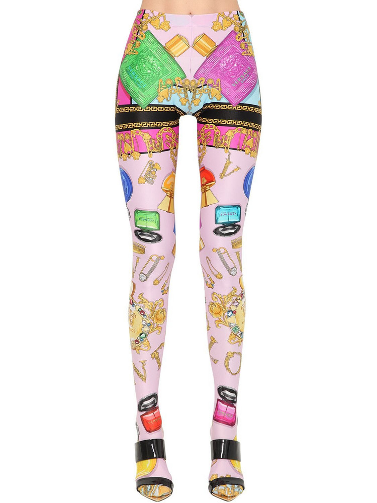 VERSACE Printed Stretch Jersey Leggings W/feet