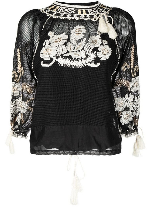 RED Valentino floral-embroidered woven blouse in black