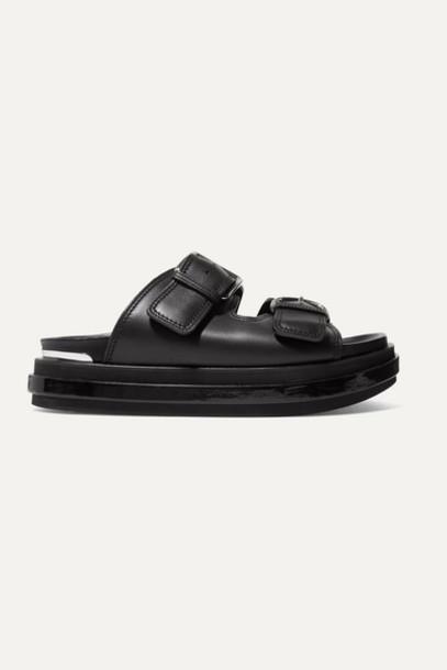Alexander McQueen - Buckled Patent-leather Trimmed Leather Platform Sandals - Black