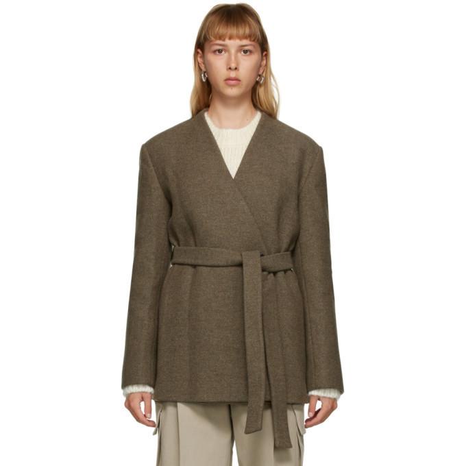DRAE Brown Wool Belted Jacket in khaki