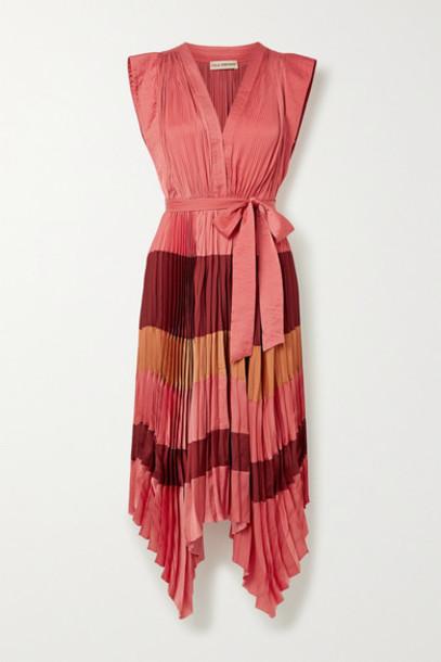 Ulla Johnson - Maysha Belted Color-block Pleated Satin Midi Dress - Coral