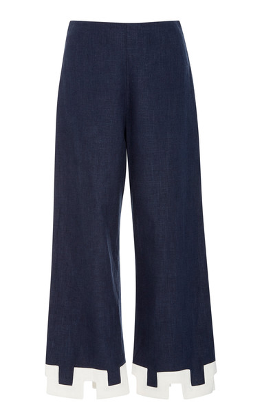 Staud Ponza Cropped Cutout Chambray Flared Pants in navy