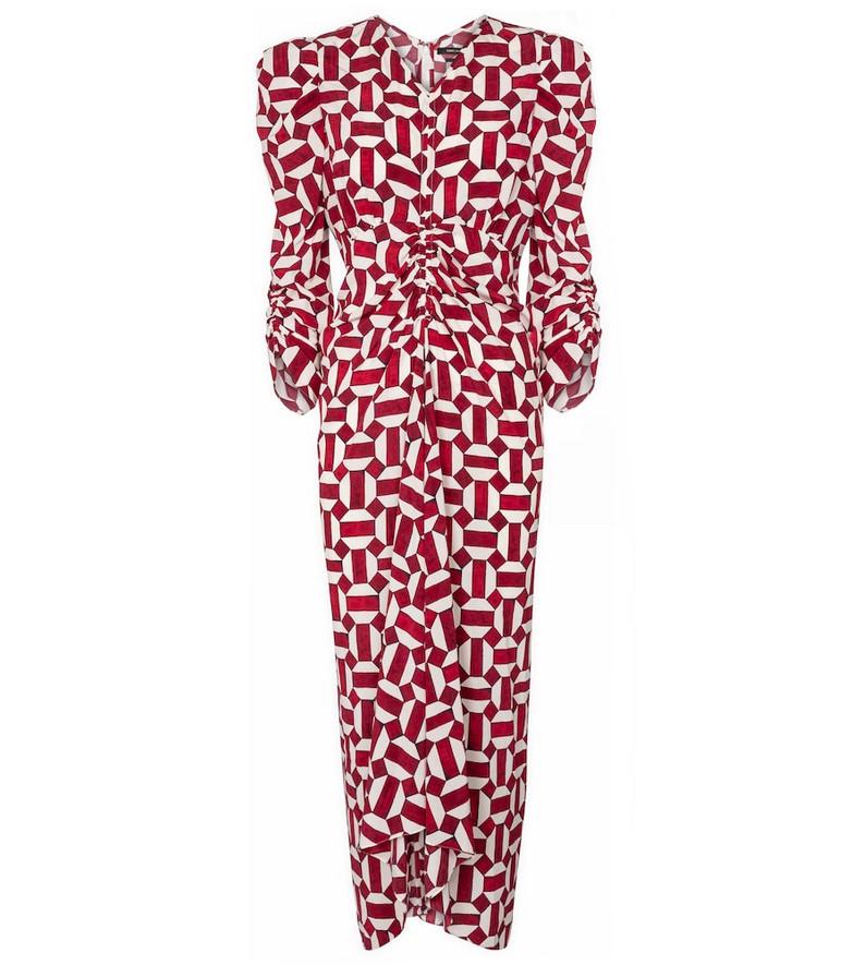 Isabel Marant Albi printed stretch-silk midi dress in red