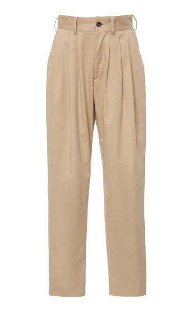 Dolce & Gabbana Pleated Gabardine Straight-Leg Pants Size: 38 in neutral