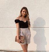 top,black top,off the shoulder top,High waisted shorts,handbag