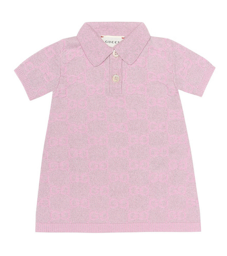 Gucci Kids Baby GG metallic wool-blend dress in pink