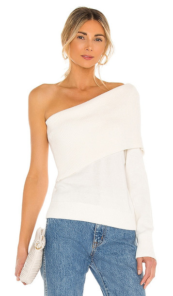 525 One Shoulder Sweater in White