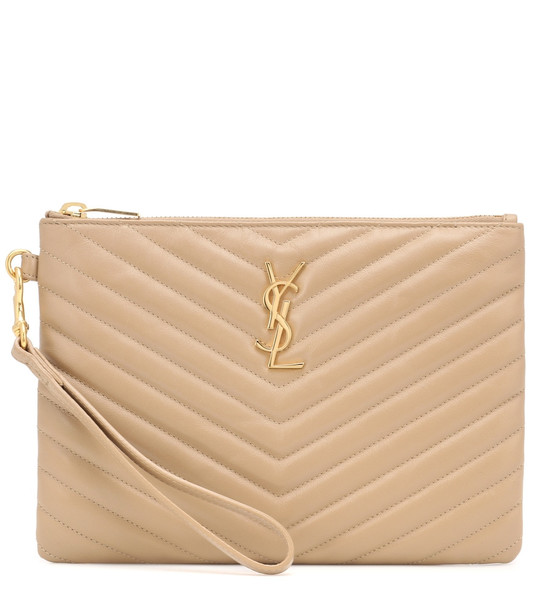 Saint Laurent Monogram leather pouch in beige