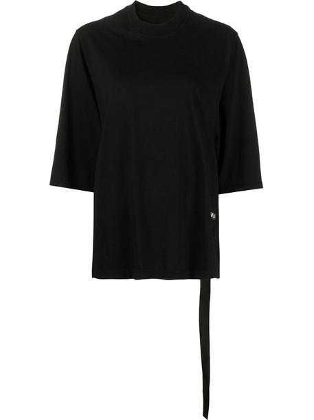 Rick Owens logo-patch three-quarter sleeve T-shirt in black