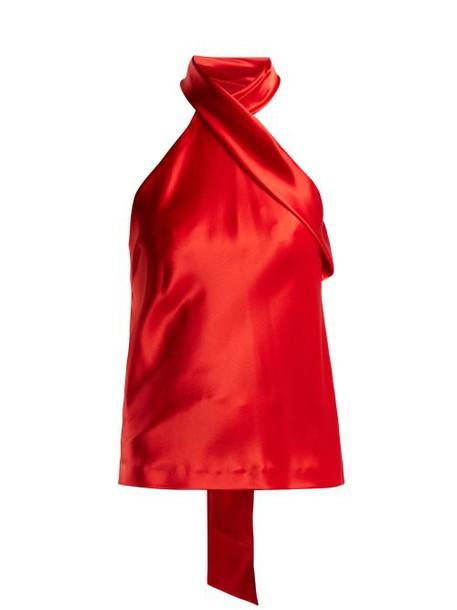 Galvan - Halterneck Satin Top - Womens - Red