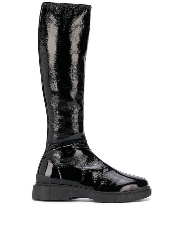 Car Shoe crinkled knee-high boots in black