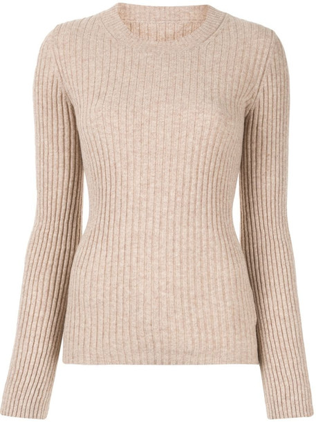 MM6 Maison Margiela cut out detail ribbed jumper in brown