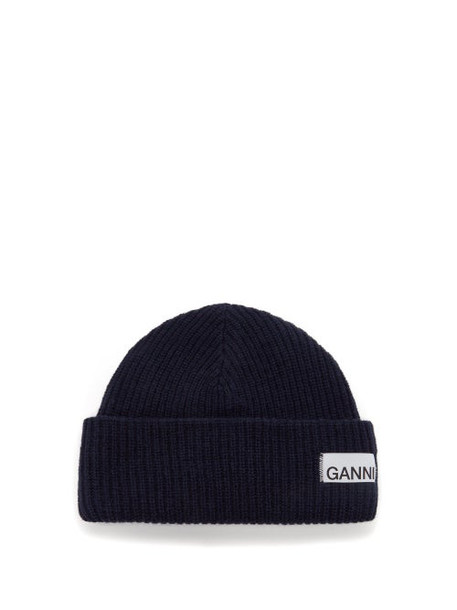 Ganni - Stitched-logo Ribbed Wool-blend Beanie Hat - Womens - Navy