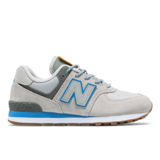 New Balance 574 Kids' Pre-School Lifestyle Shoes - Grey/Blue (PC574PAB)