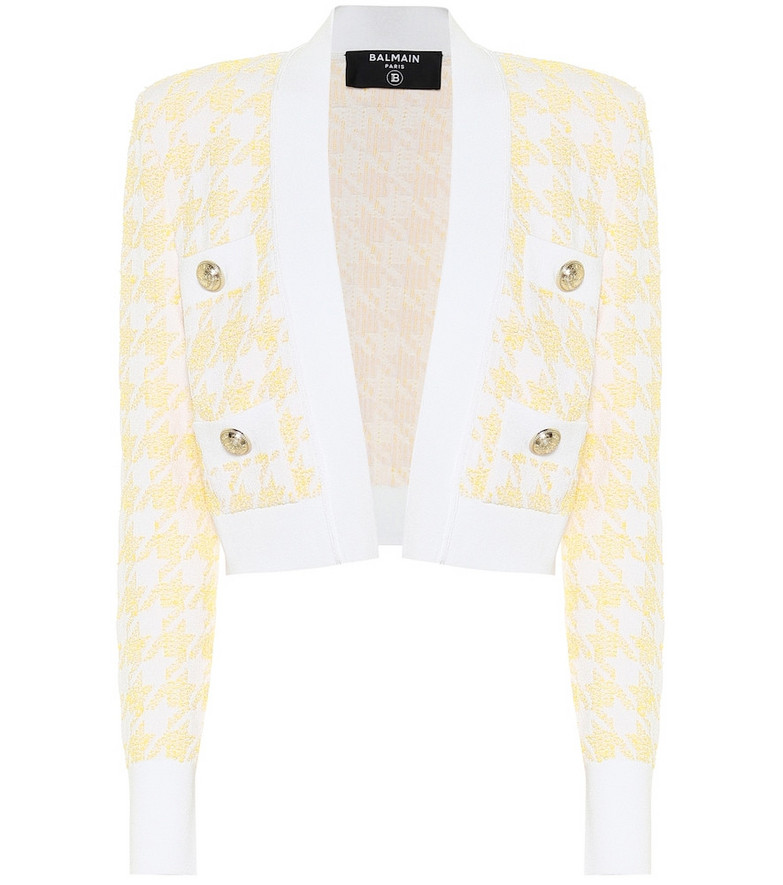 Balmain Exclusive to Mytheresa – Houndstooth jacquard cropped jacket in yellow