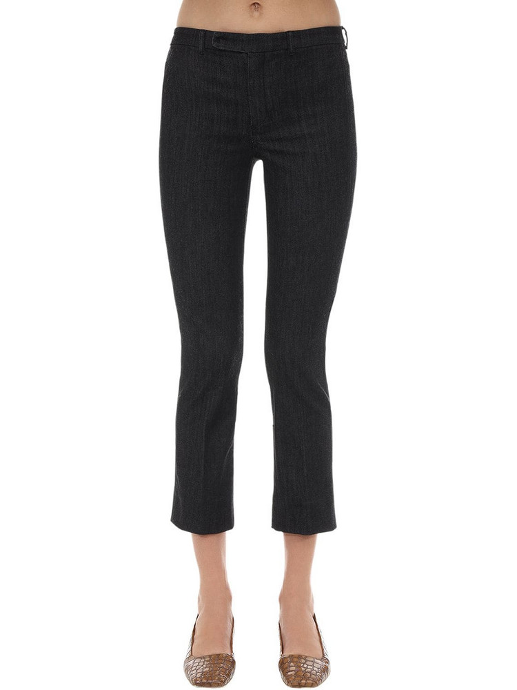 MAX MARA 'S Flared Cotton Blend Denim Pants in black