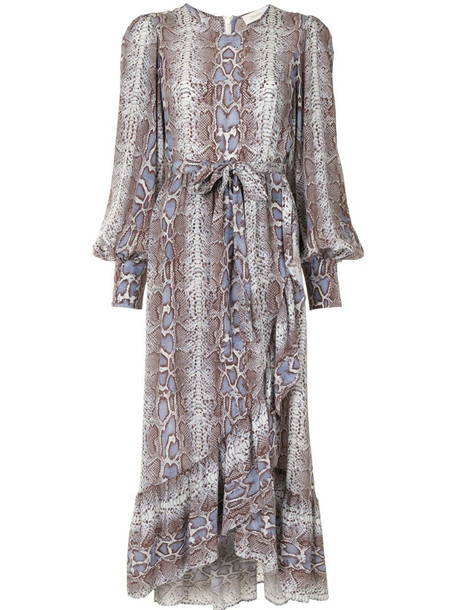 Zimmermann snakeskin-print wrap dress in blue
