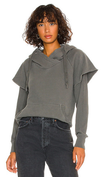NSF Ray Hoodie with Thermal Sleeves in Charcoal in black