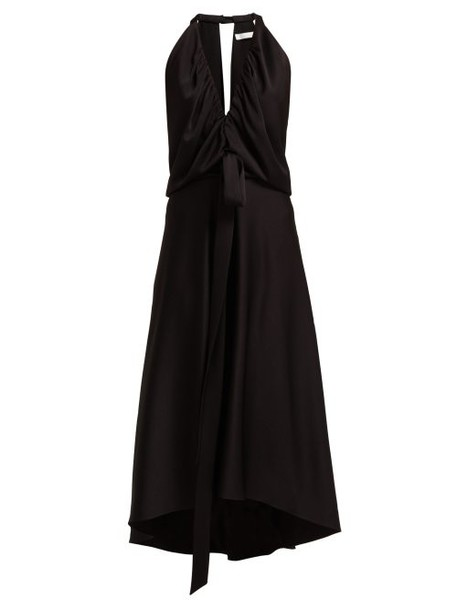 Chloé Chloé - V Neckline Gathered Satin Midi Dress - Womens - Black